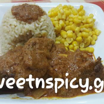 Beef curry with Kenyan mild blend and saffron basmati rice