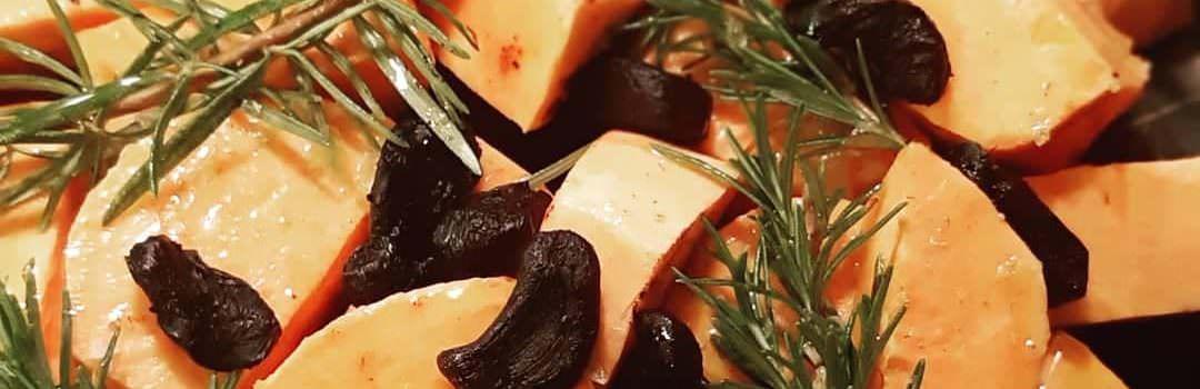 Baked Sweet potatoes with Black garlic