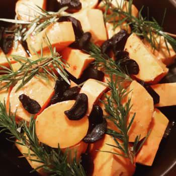 Baked Sweet potatoes with Black garlic