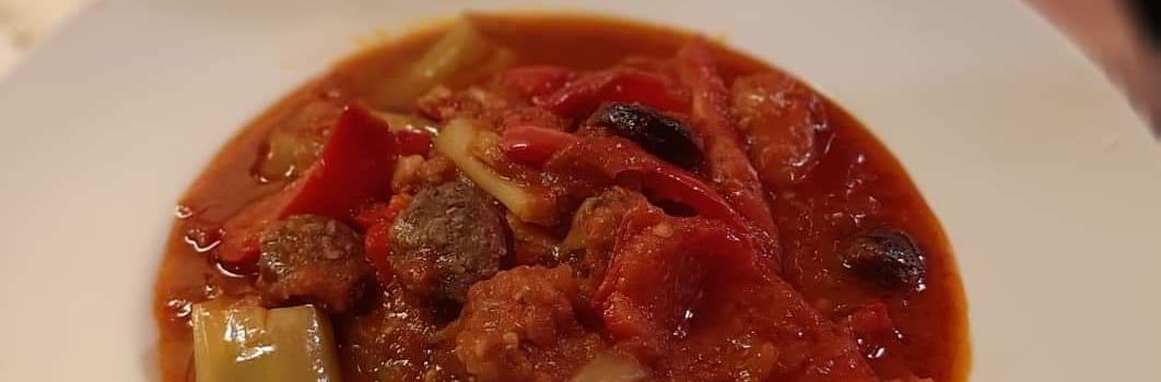 Greek sausage and peppers. Spetzofai