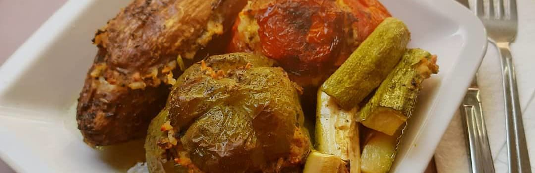 Greek style stuffed vegetables ( Gemista)with or without meat