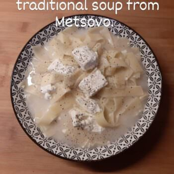 Greek noodles with feta cheese soup