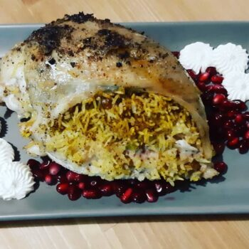 Lebanese stuffed chicken with nuts