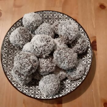 Chocolate truffles with almond flour and walnuts